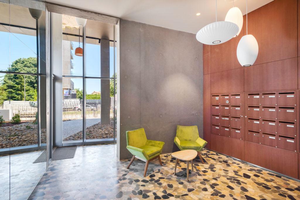 Hall d'entrée intérieur - Le Platinium à Montpellier par M&A Promotion