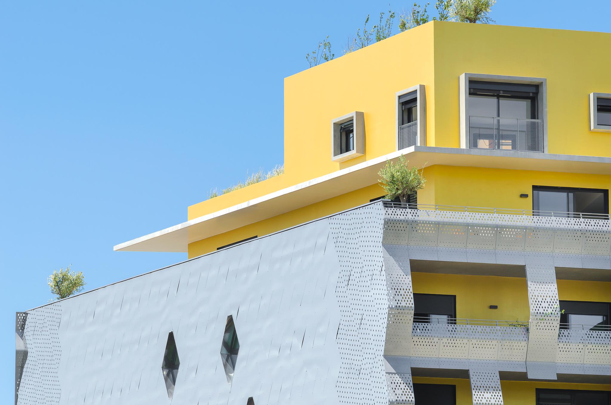 Détail d'une maison sur le toit - Le Platinium à Montpellier par M&A Promotion